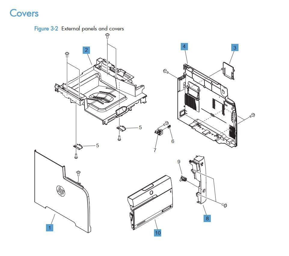 2.  HP LaserJet M375 M475 Covers panels and doors printer part diagrams