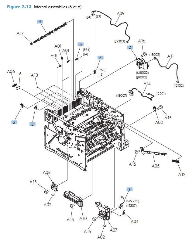 11. HP M525 Internal assemblies 6 of 6 printer parts diagram