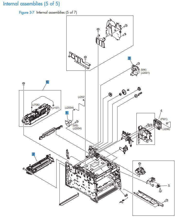 7.  HP LaserJet M375 M475 Internal assemblies 5 of 5 printer part diagrams