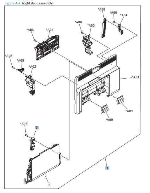 HP CP4025 CP4525 Front Door Assembly Printer Diagrams