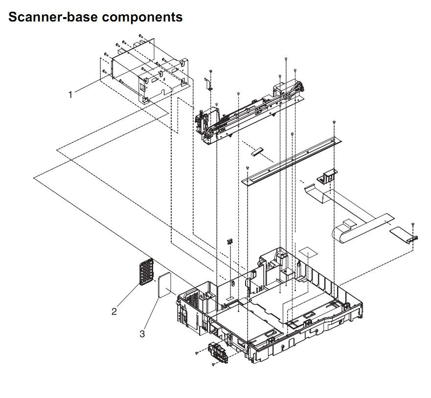 37. HP 4345 Q3942A 4345x Q3943A 4345xs Q3944A 4345xm Q3945A Scanner base components Printer Part Diagrams