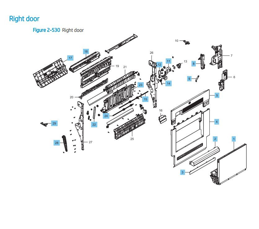 HP LaserJet E82540 E82550 E82560 Right Door Assembly Printer Parts Diagram