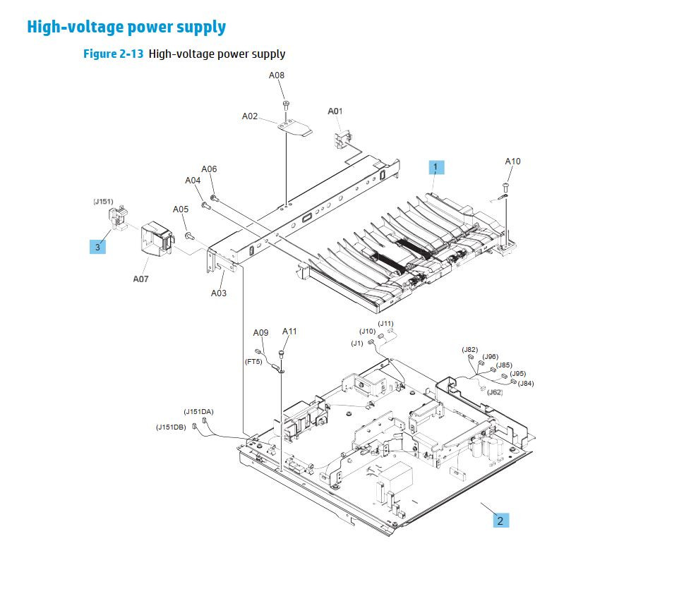 12. HP M630 High voltage power supply printer parts diagram