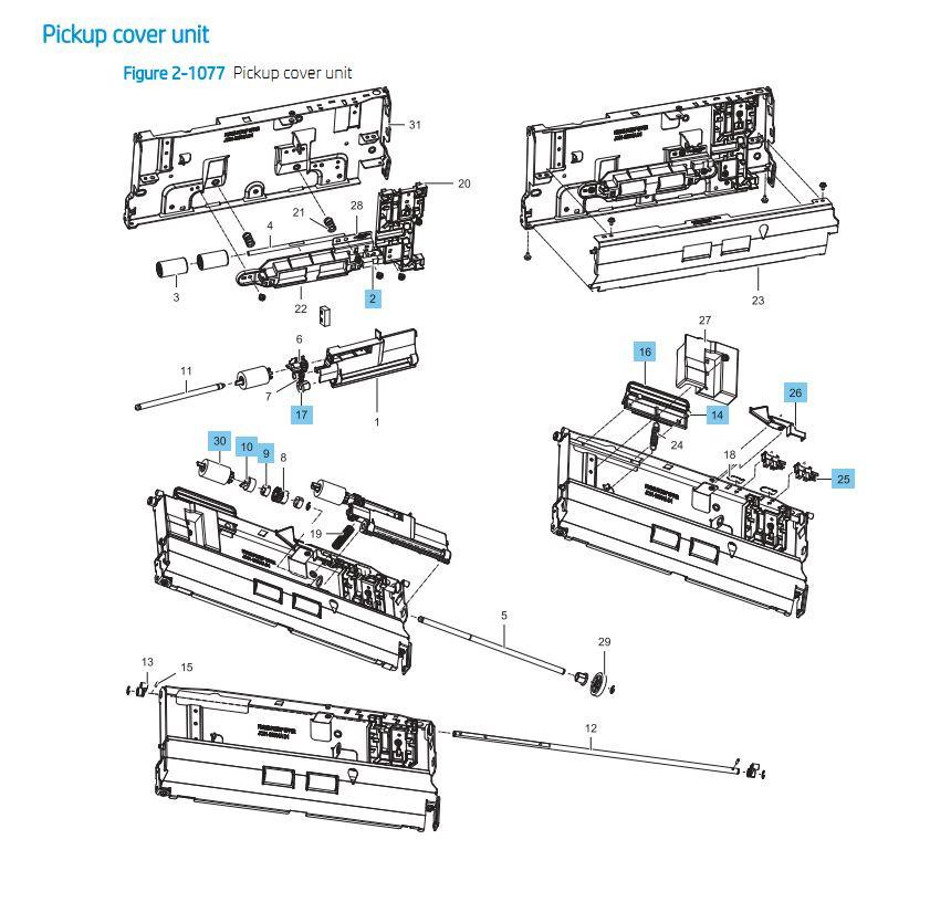 41. HP E87640 E87650 E87660 Pickup Cover Unit Printer Part Diagrams