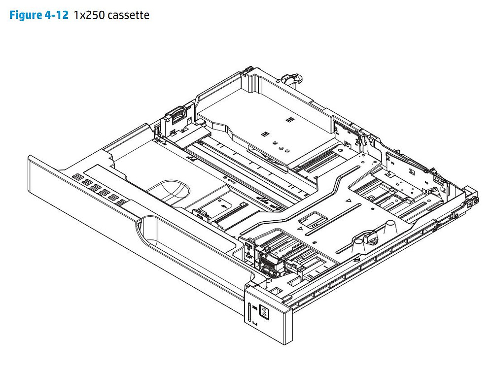 12. HP CP5525n paper tray 2 1 x 250 cassette printer parts diagram