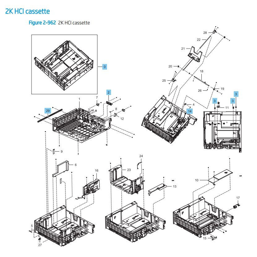 35. HP LaserJet E82540 E82550 E82560 2000 sheet feeder HCI cassette paper tray Printer Parts Diagram