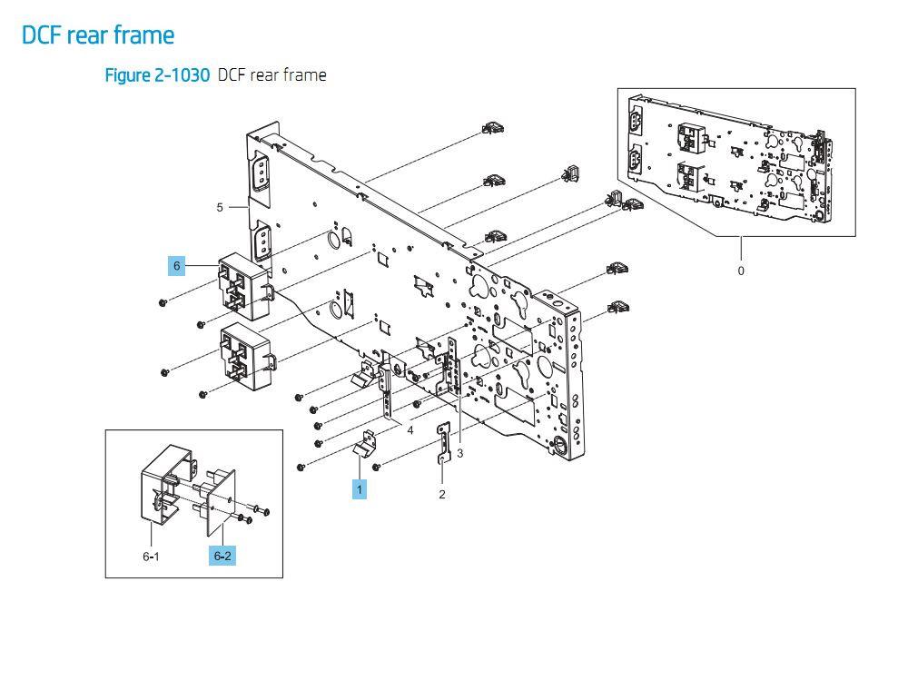 29. HP E87640 E87650 E87660 Duel Cassette Feeder DCF Rear Frame Paper Tray Printer Part Diagrams