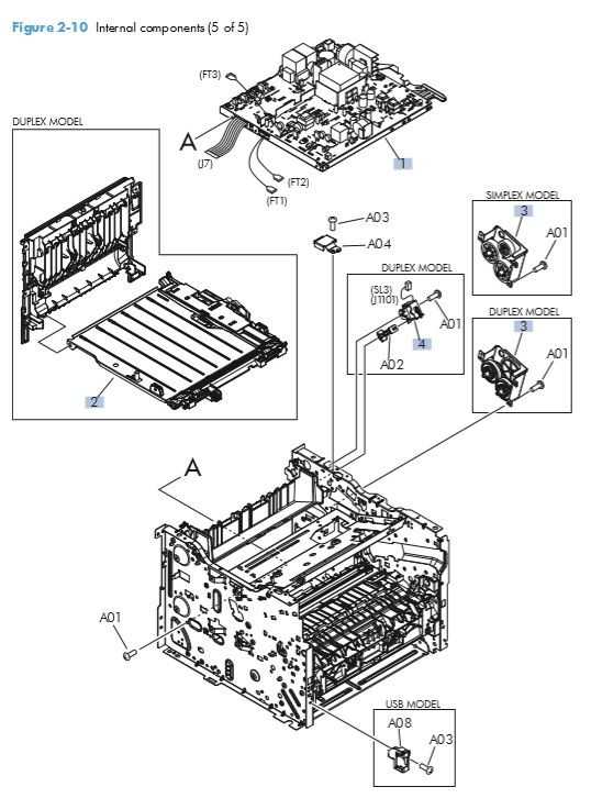 7. HP M401 M425 Internal assemblies 5 of 5 printer parts diagram