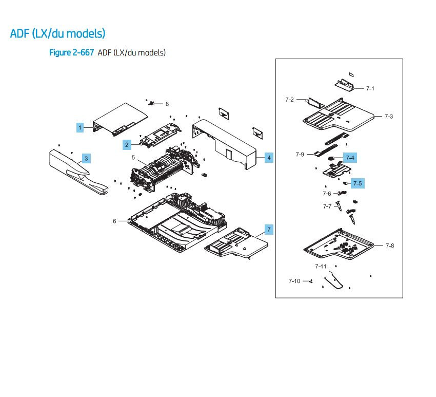 18. HP LaserJet E82540 E82550 E82560 ADF LX Du Models Assembly Printer Parts Diagram