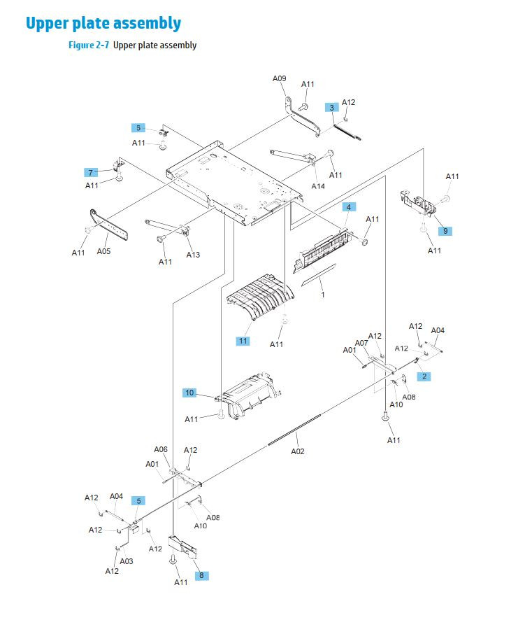 6. HP M630 Upper plate assembly printer part diagrams