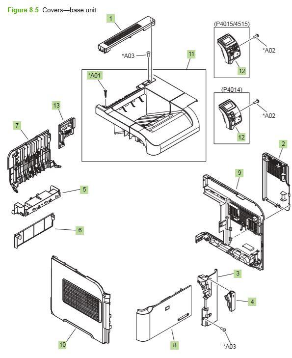 HP P4014 P4015 P4515 External covers, panels and doors printer diagram