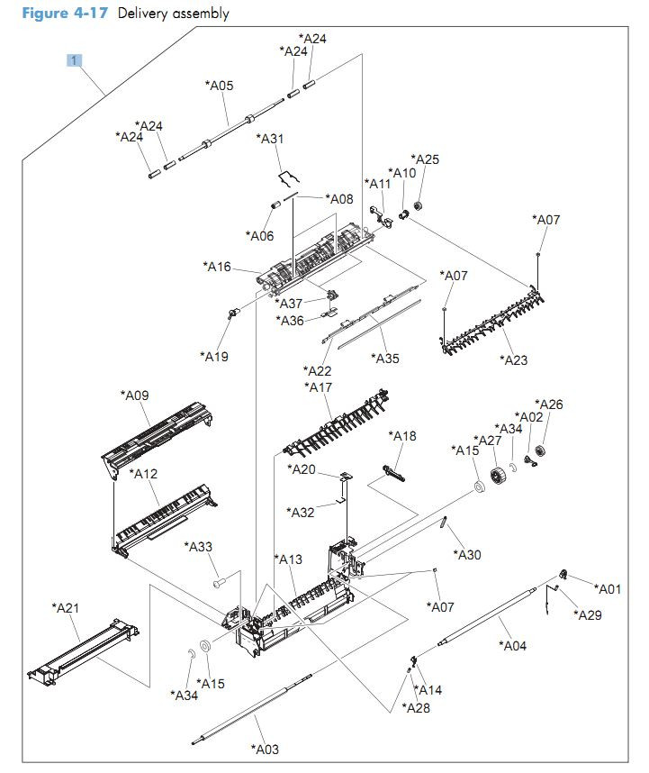 17. HP CM4540 Delivery assembly printer parts diagram