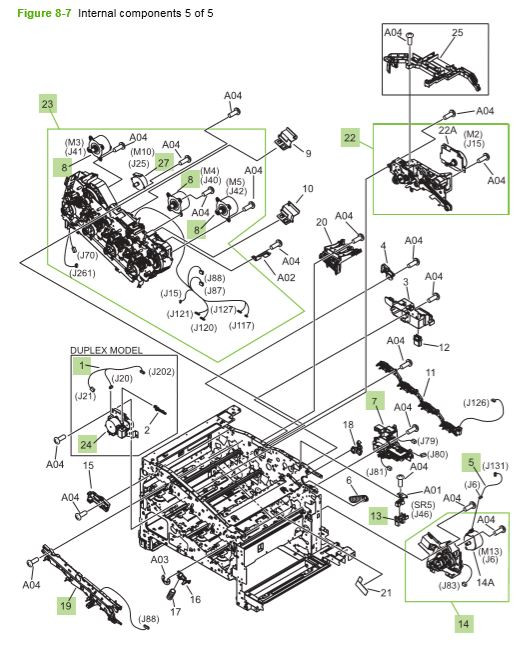 7) HP CP3525 Internal components 5 of 5 printer parts diagram
