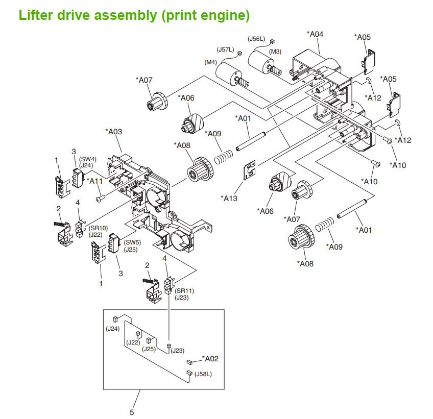27. HP M5025 M5035 Lifter drive assembly print engine  printer part diagrams