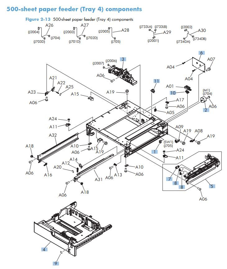 7. HP M712 500 Sheet paper feeder tray 4 components printer part diagrams