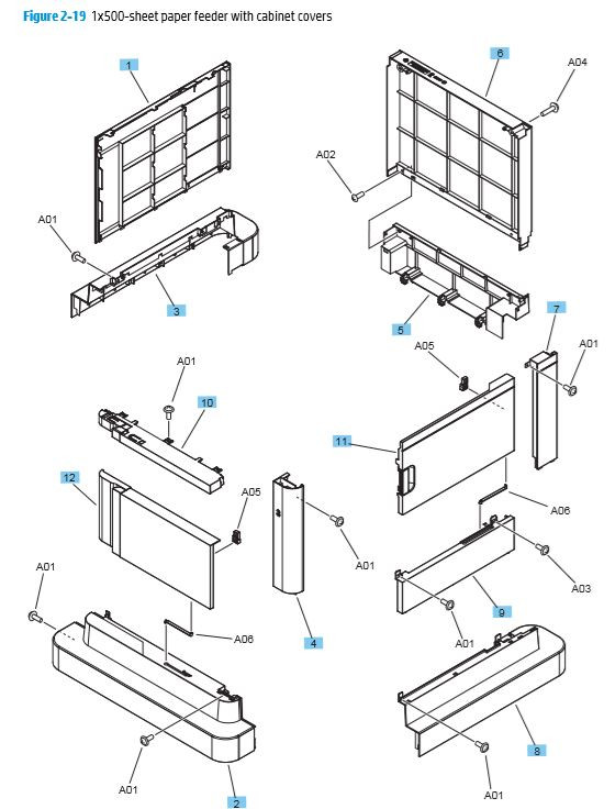19. HP M680 M651 1x500 sheet paper feeder with cabinet covers printer parts diagram