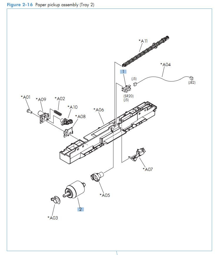 14. HP M575 Paper pickup Tray 2 assembly printer parts diagram