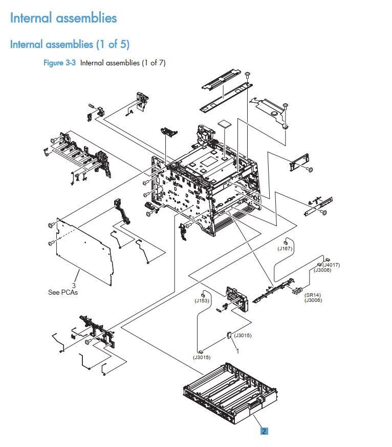 3.  HP LaserJet M375 M475 Internal assemblies 1 of 5 printer part diagrams