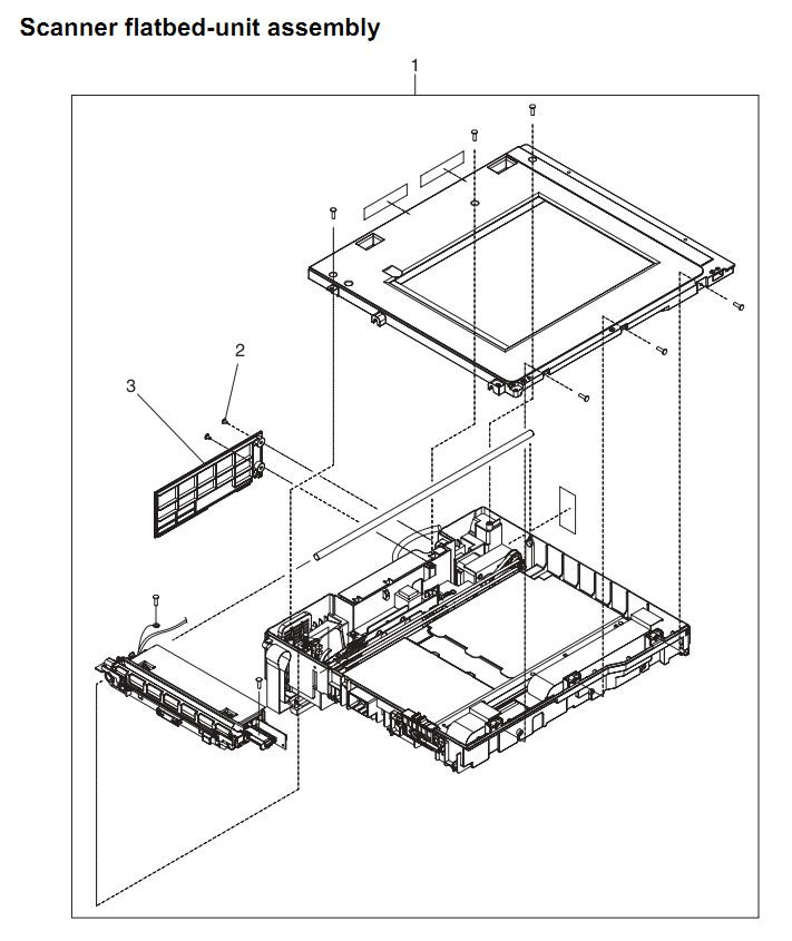 38. HP 4345 Q3942A 4345x Q3943A 4345xs Q3944A 4345xm Q3945A Scanner flatbed unit assembly Printer Part Diagrams