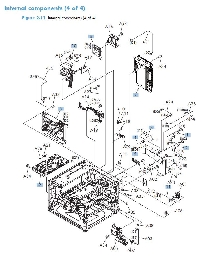 5. HP M712 Internal Components 4 of 4 printer part diagrams