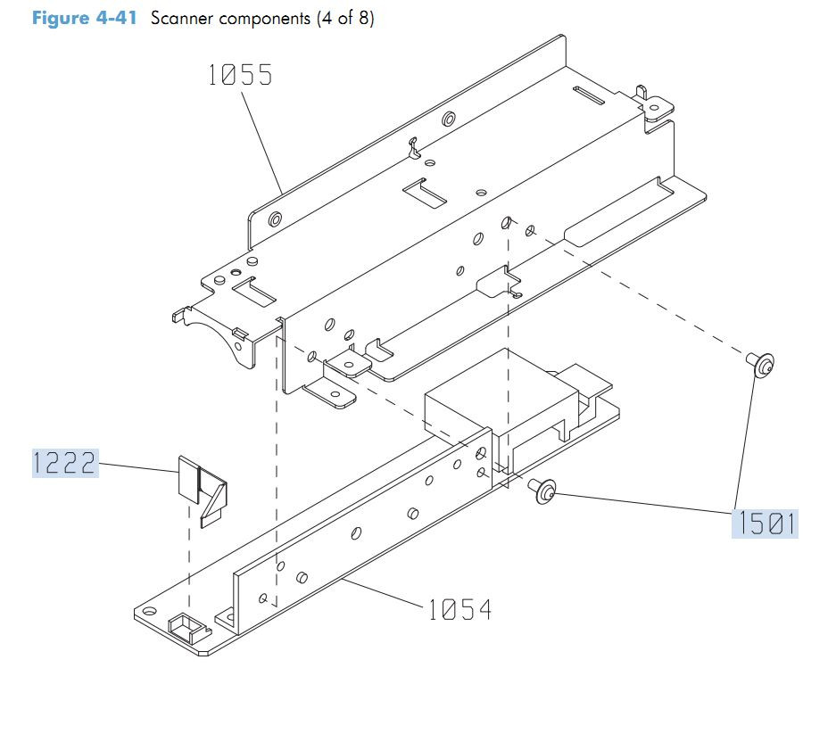 35. HP M4555 Scanner Components 4 of 8 printer parts diagram