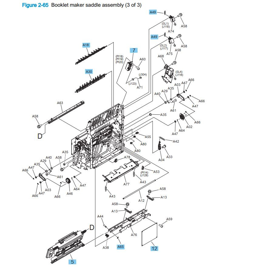 30. HP M855 M880 Booklet maker saddle assembly 3 of 3 printer part diagrams