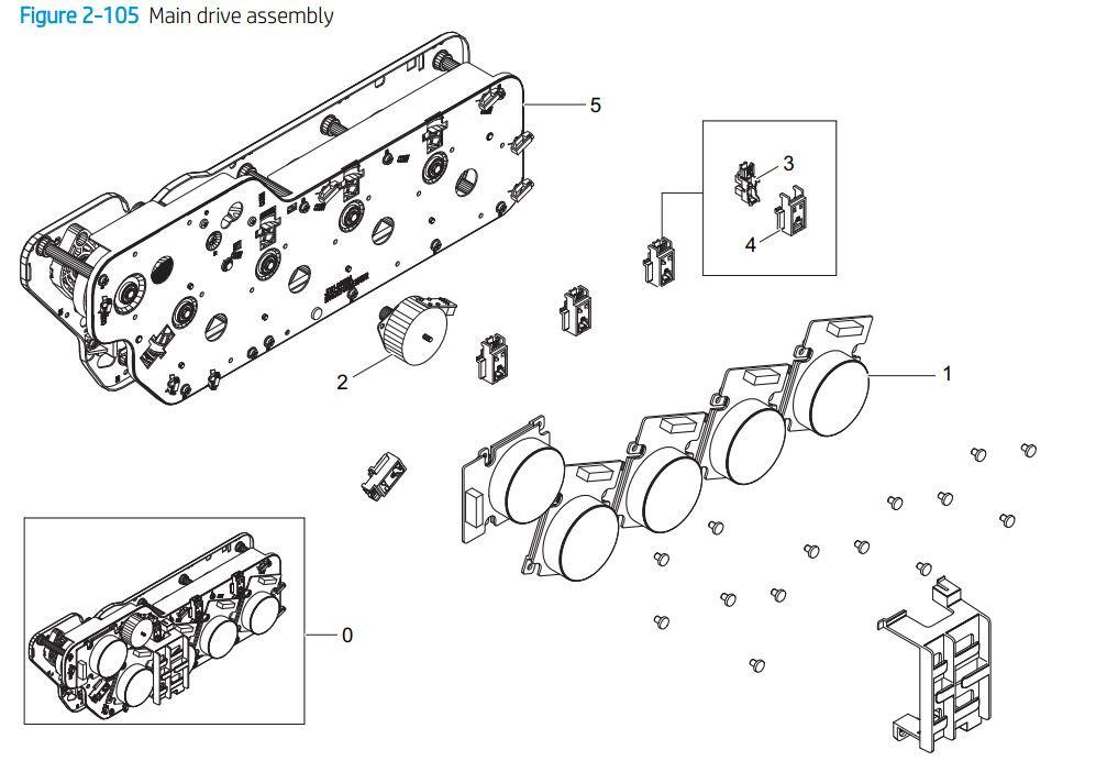 8. HP E77422 E77428 Main drive assembly printer parts diagram