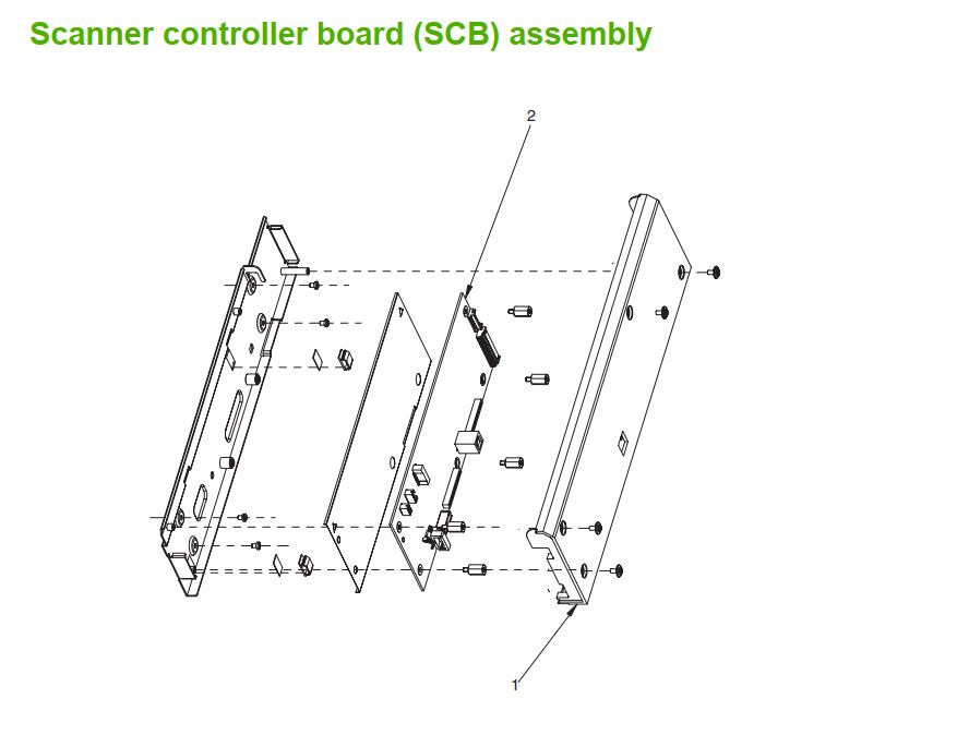 13. HP M5025 M5035 Scanner controller board SCB assembly printer part diagrams