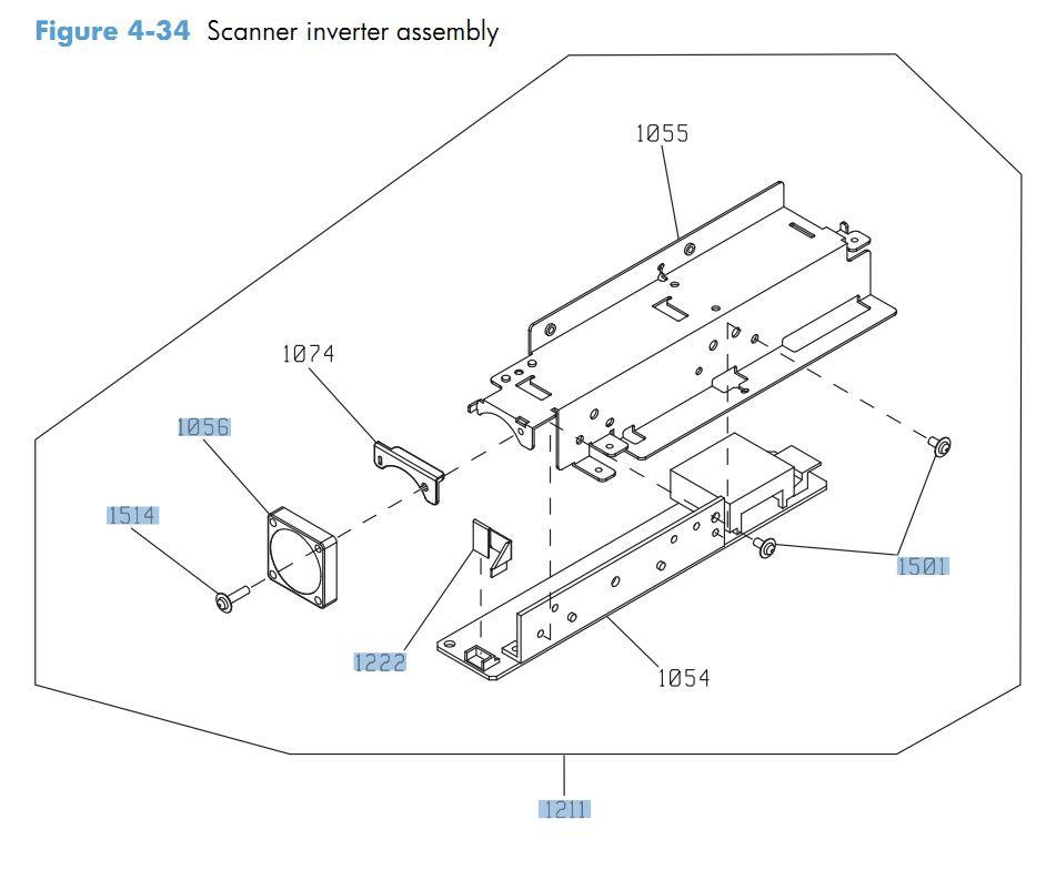 34. HP CM4540 Scanner inverter assembly printer parts diagram
