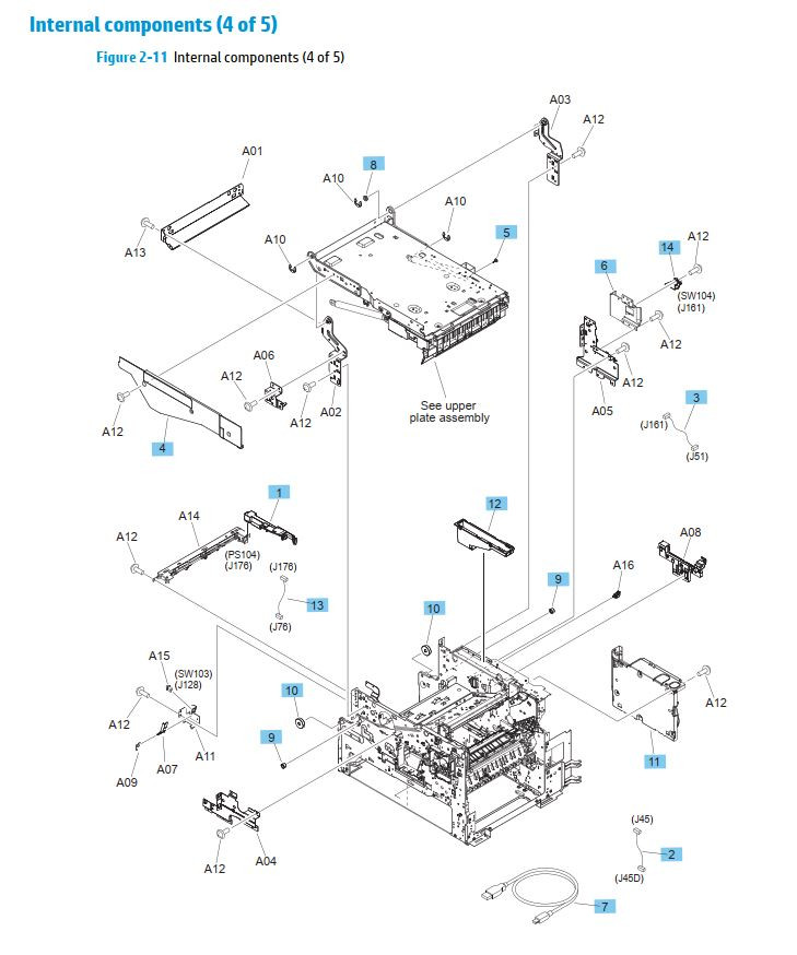 10. HP M630 Internal assemblies 4 of 5 printer parts diagram