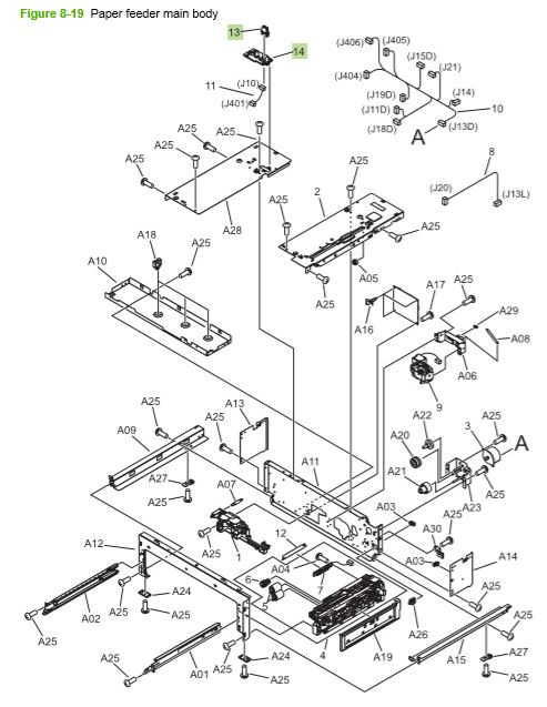 18) HP CP3525 Paper feeder main body assembly printer parts diagram