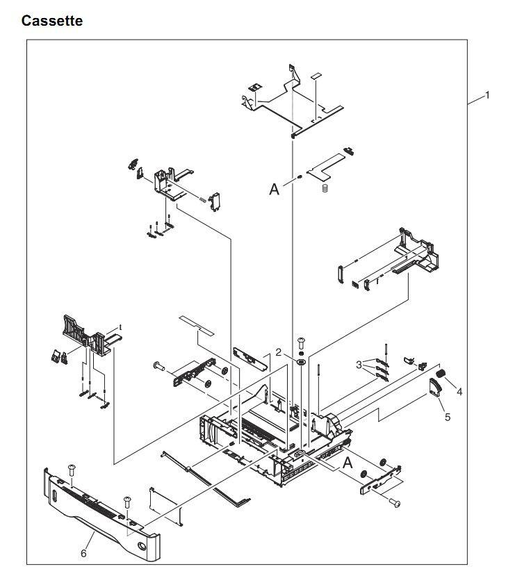 18. HP 4345 Q3942A 4345x Q3943A 4345xs Q3944A 4345xm Q3945A Paper cassette tray 2-3-4 Printer Part Diagrams