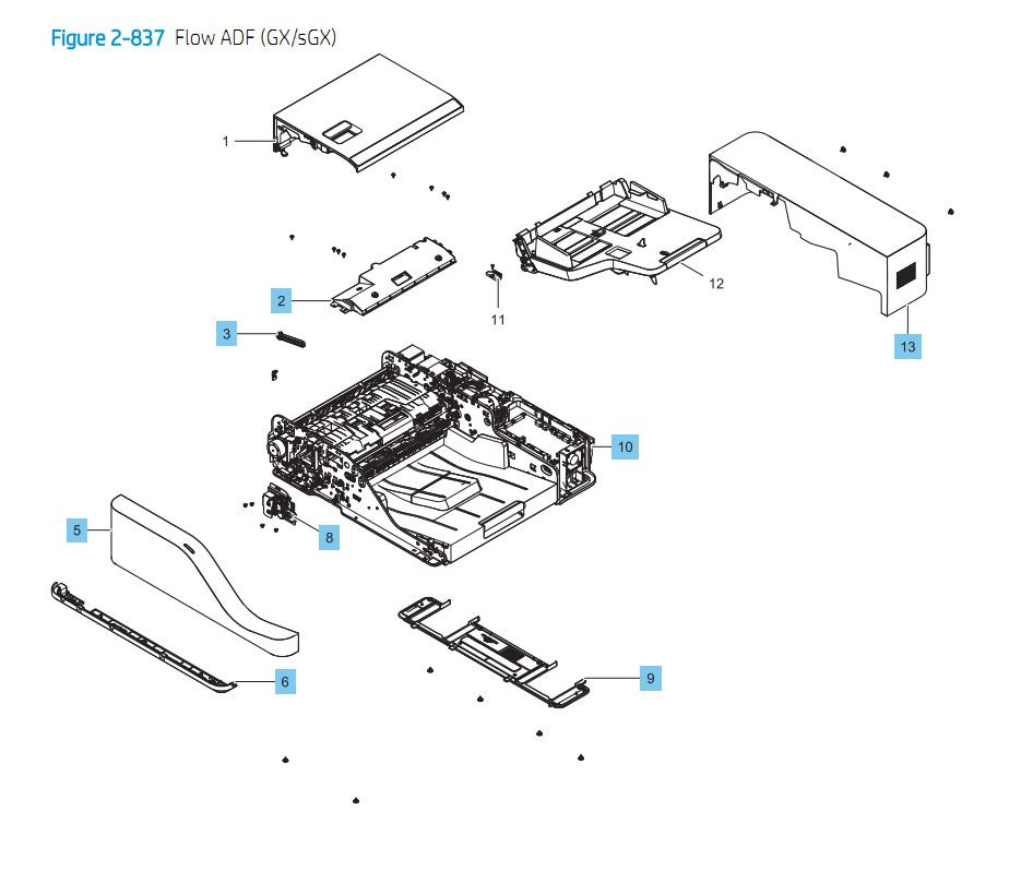 20. HP E87640 E87650 E87660 Flow ADF GX / sGX Printer Part Diagrams