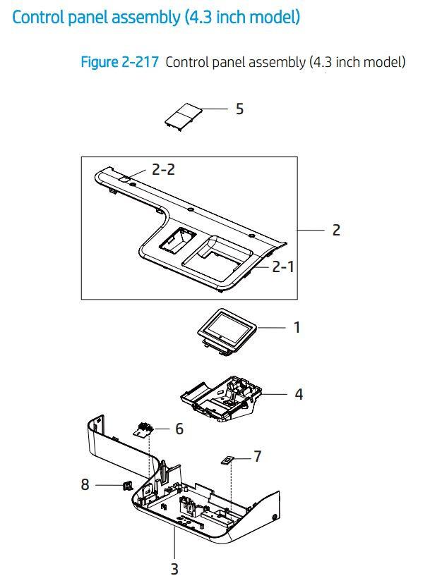 20. HP E77422 E77428 Control panel 4.3  printer parts diagram