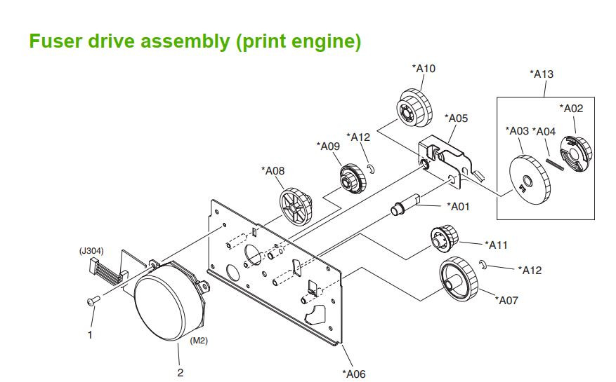 28. HP M5025 M5035 Fuser drive assembly print engine printer part diagrams