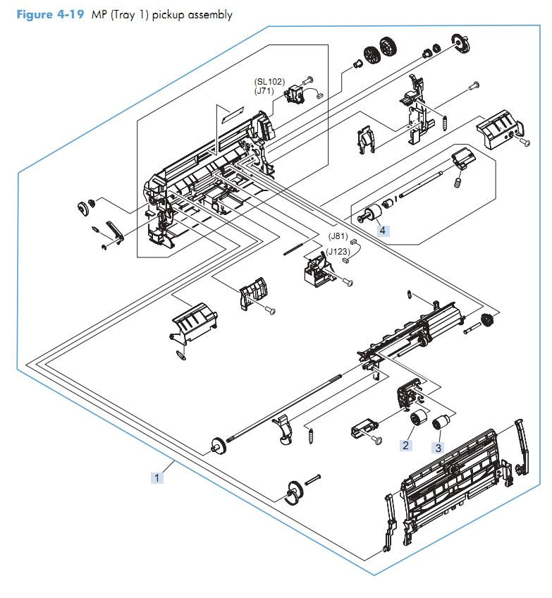 14. HP M4555 MP Tray 1 pickup assembly printer parts diagram