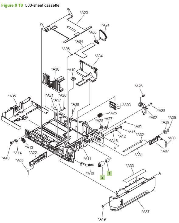 6) HP P4014 P4015 P4515 500 sheet cassette printer parts diagram