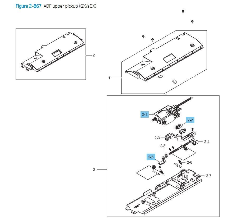 22. HP E87640 E87650 E87660 ADF upper Pickup GX / sGX Printer Part Diagrams