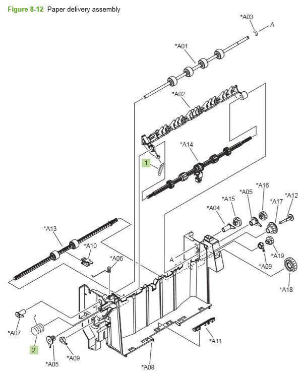 8) HP P4014 P4015 P4515 500 paper delivery assembly printer parts diagram
