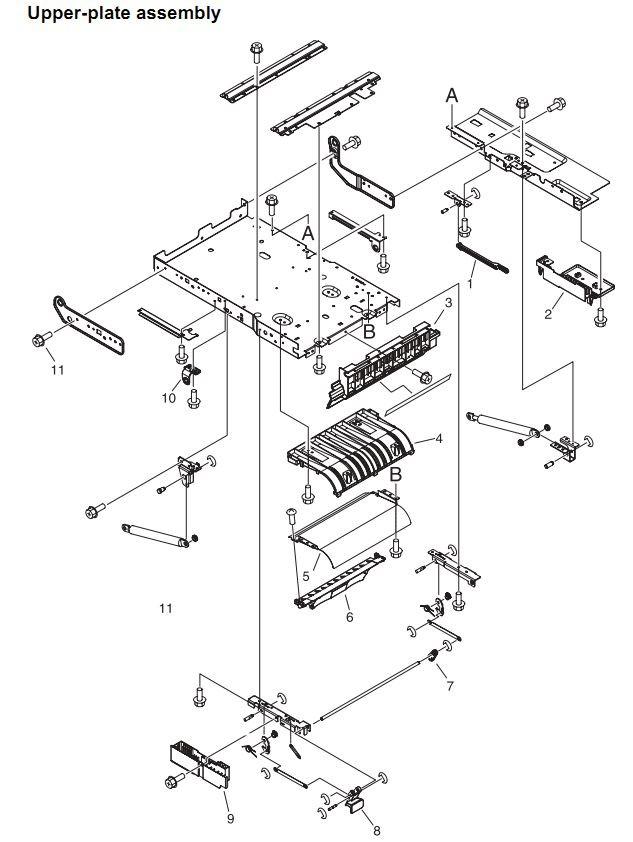 8. HP 4345 Q3942A 4345x Q3943A 4345xs Q3944A 4345xm Q3945A Upper plate assembly Printer Part Diagrams