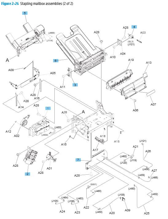 26. HP M680 M651 Stapling mailbox components 2 of 2 printer parts diagram