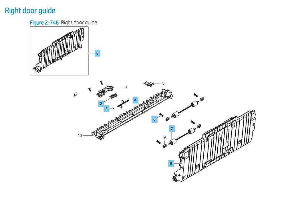 14. HP E87640 E87650 E87660 Right Door Guide Printer Part Diagrams