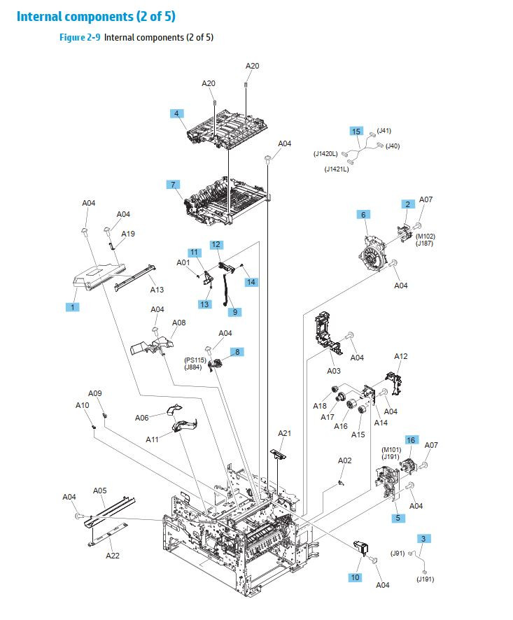 8. HP M630 Internal assemblies 2 of 5 printer parts diagram