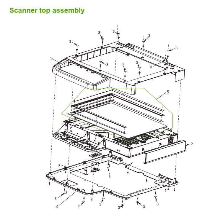 12. HP M5025 M5035 Scanner top assembly printer part diagrams