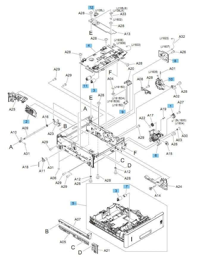 500 Sheet Feeder Main Body M604 M605 M606 Printers Part Diagram
