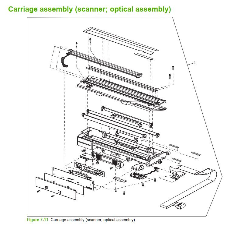 11. HP M5025 M5035 Carriage assembly scanner optical assembly printer part diagrams