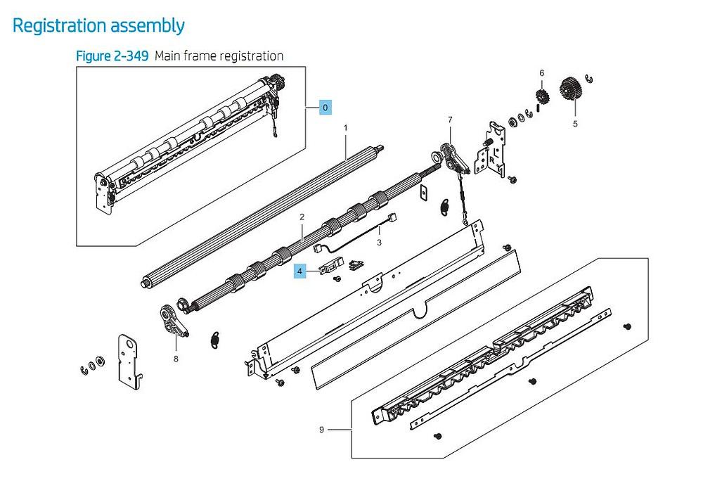 4. HP E87640 E87650 E87660 Registration Assembly Printer Part Diagrams