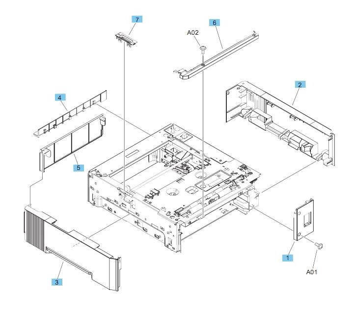 500 Sheet Feeder Covers M604 M605 M606 Printers Part Diagram