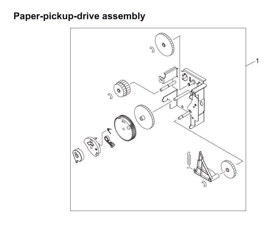 16. HP 4345 Q3942A 4345x Q3943A 4345xs Q3944A 4345xm Q3945A Paper pickup drive assembly Printer Part Diagrams