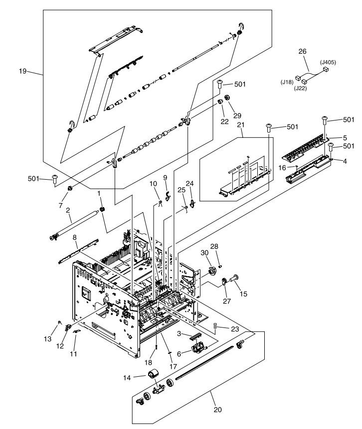 5. HP M3027 M3035 Internal assemblies 3 of 5 printer parts diagram